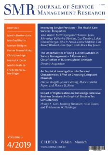"Towards entry ""New insights in Health Services, Business Model Artefacts, Complaint Management and more: The fourth issue of the Journal of Service Management Research (SMR) is now available."""