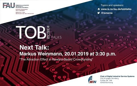 "Towards entry ""Don't miss out the last TOBI Talk of the winter semester which will be on January 20th at 15:30 with yet another exciting topic: The Attraction Effect in Reward-Based Crowdfunding"""